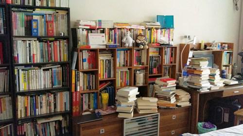 陈天翔家中的藏书。来源:受访者供图